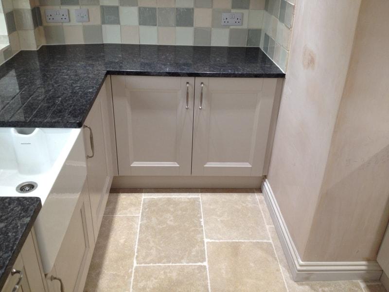 Painted Wooden Kitchen Amp Steel Grey Granite Worktops